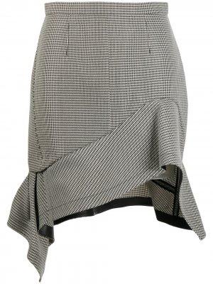Деконструированная юбка мини в ломаную клетку Alexander Wang. Цвет: черный