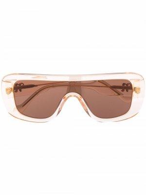 Солнцезащитные очки Monsino в массивной квадратной оправе Nanushka. Цвет: нейтральные цвета