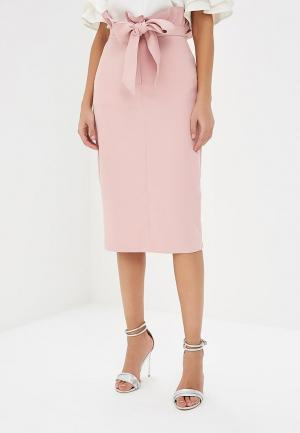 Юбка Lost Ink DOUBLE PAPERBAG BELTED PENCIL SKIRT. Цвет: розовый
