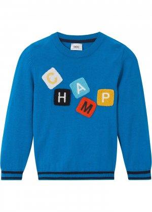 Пуловер для мальчика bonprix. Цвет: синий