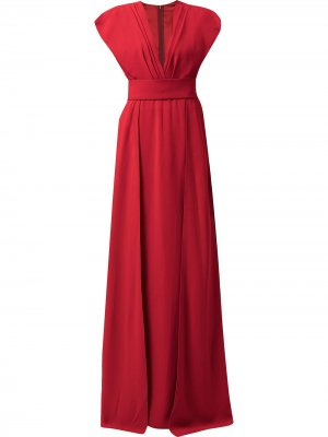 Плиссированное платье с V-образным вырезом Dolce & Gabbana. Цвет: красный
