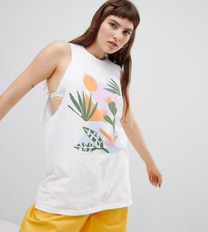 Майка с заниженной проймой и абстрактным принтом кактуса inspired-Белый Reclaimed Vintage
