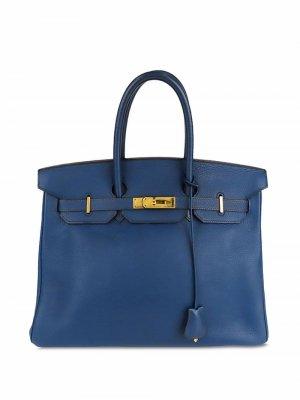Сумка Birkin 35 pre-owned Hermès. Цвет: синий