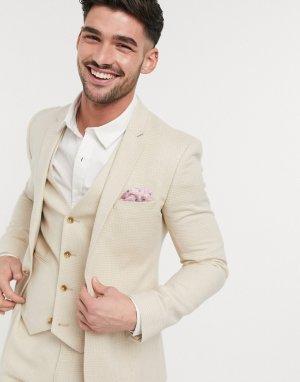 Светло-бежевый приталенный пиджак из эластичной смеси хлопка и льна wedding ASOS DESIGN