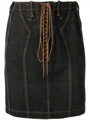Джинсовая юбка с завышенной талией Alaïa Pre-Owned. Цвет: черный