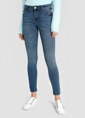 Суперузкие укороченные джинсы O`Stin. Цвет: светло-синий