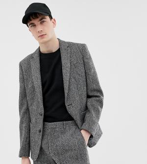 Серый приталенный пиджак из твида Харрис Noak