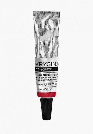 Средство Krygina Cosmetics универсальное для макияжа. Кремовый пигмент Concrete Holly, 4,5 мл, красный. Цвет: красный