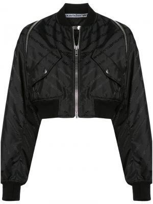 Укороченная куртка-бомбер Alexander Wang. Цвет: черный