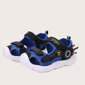 Двухцветные спортивные сандалии на липучке для мальчиков SHEIN. Цвет: ярко-синий
