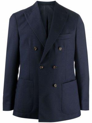 Двубортный пиджак строгого кроя Eleventy. Цвет: синий