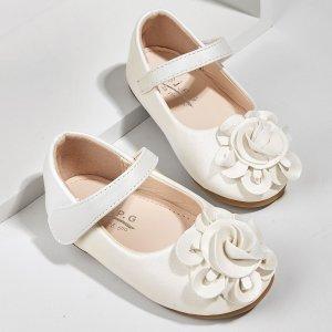 Для девочек Туфли мэри джейн с цветком SHEIN. Цвет: белый