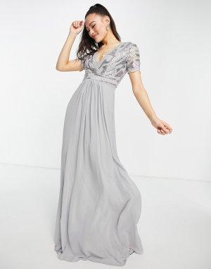 Серебристое платье макси с кружевной отделкой и пышной юбкой -Серебряный Goddiva