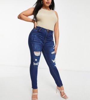 Темно-синие зауженные джинсы с рваной отделкой -Голубой Yours