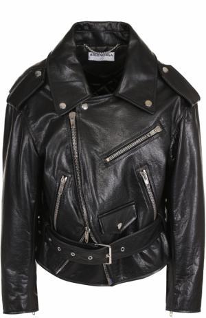 Кожаная куртка свободного кроя с косой молнией Balenciaga. Цвет: черный