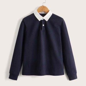 Рубашка-поло для мальчиков SHEIN. Цвет: чёрный
