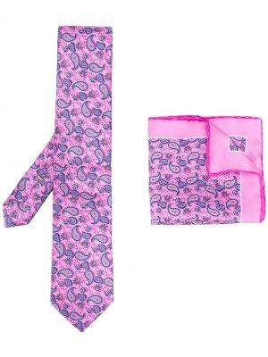 Комплект из платка и галстука с принтом пейсли Canali. Цвет: розовый