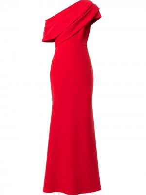 Платье на одно плечо с драпировкой Badgley Mischka. Цвет: красный