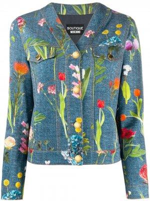 Джинсовая куртка с цветочным фотопринтом Boutique Moschino. Цвет: синий