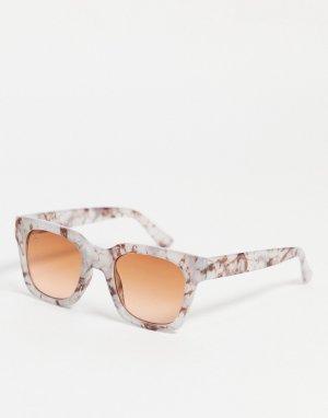 Женские круглые солнцезащитные очки в мраморной оправе -Прозрачный Jeepers Peepers