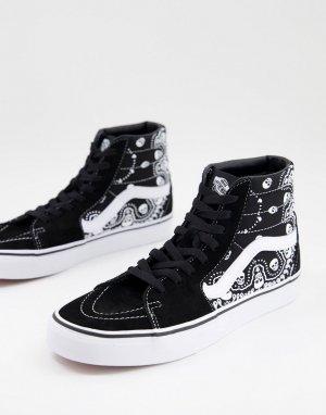 Черные кроссовки с принтом банданы SK8-Hi-Белый Vans