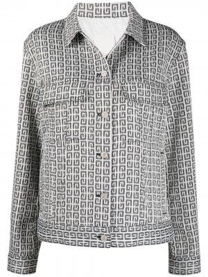 Джинсовая куртка с жаккардовым логотипом Givenchy. Цвет: белый