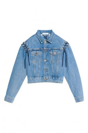 Джинсовая куртка со шнуровкой Sandro. Цвет: синий