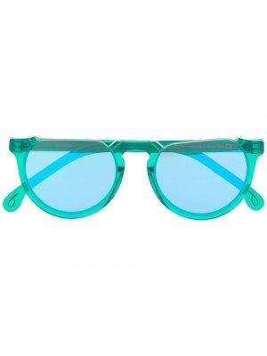 Солнцезащитные очки Belmont в круглой оправе Paul Smith. Цвет: зеленый