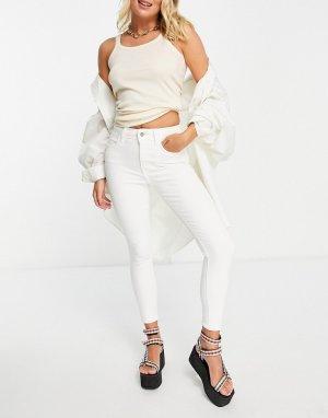 Белые зауженные джинсы Four-Белый Topshop