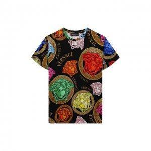 Хлопковая футболка Versace. Цвет: разноцветный
