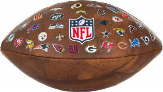 Мяч для американского футбола NFL 32 TEAM LOGO Wilson. Цвет: коричневый