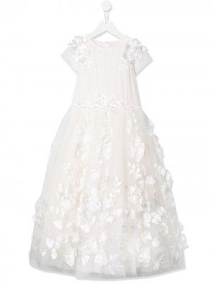 Платье из тюля с цветочной вышивкой Aletta. Цвет: белый