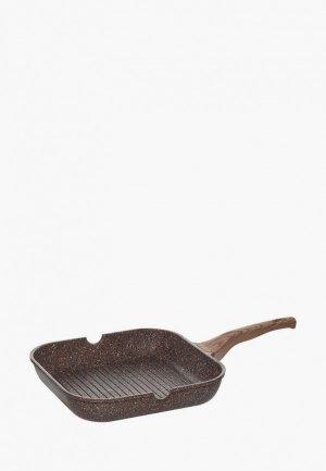 Сковорода Nadoba GRETA гриль. Цвет: коричневый