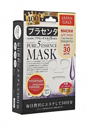 Набор масок для лица Japan Gals Маска с плацентой Pure5 Essential 30 шт. Цвет: белый