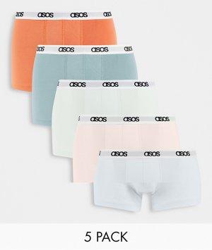 Набор из 5 боксеров-брифов пастельных оттенков -Multi ASOS DESIGN