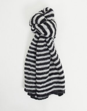 Шарф-одеяло в полоску темно-синего и кремового цвета -Темно-синий AllSaints
