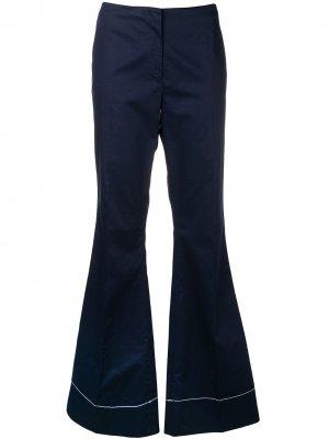 Расклешенные брюки с декоративной строчкой By Malene Birger. Цвет: синий