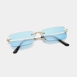 Мужские солнечные очки без оправы SHEIN. Цвет: синий