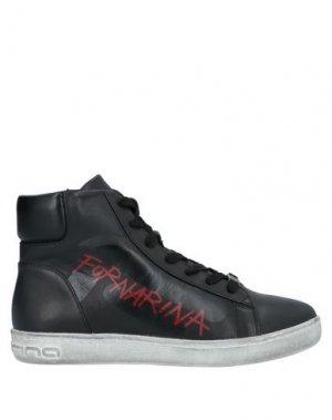 Высокие кеды и кроссовки FORNARINA. Цвет: черный