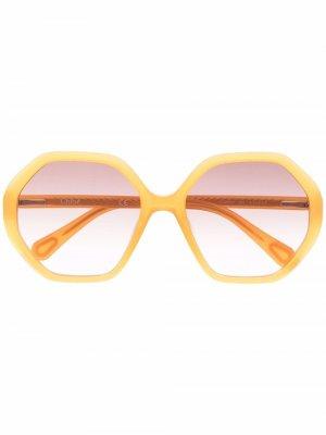 Солнцезащитные очки в круглой оправе Chloé Kids. Цвет: оранжевый