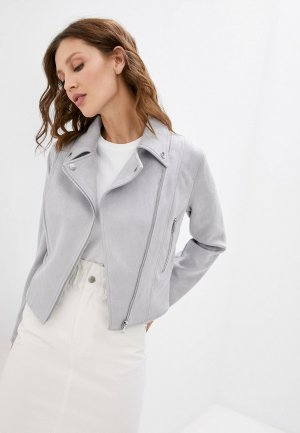 Куртка кожаная Love Republic Exclusive online. Цвет: серый