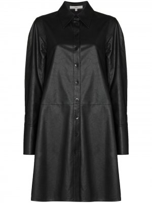 Faux leather shirt dress Tibi. Цвет: черный