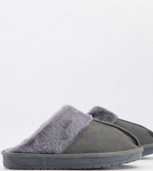 Серые мюли-слиперы Wide Fit-Серый Simply Be