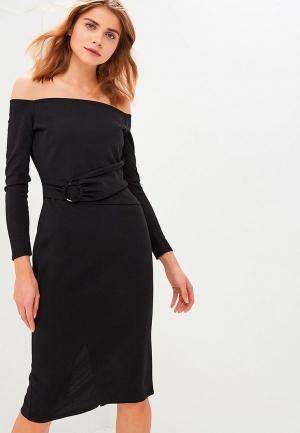 Платье Lost Ink RING DETAIL BARDOT MIDI BODYCON. Цвет: черный