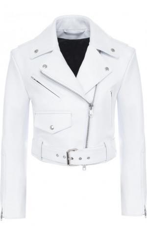 Укороченная кожаная куртка с косой молнией CALVIN KLEIN 205W39NYC. Цвет: белый