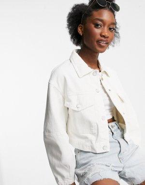 Белая куртка из органического хлопка с большими карманами -Белый Bershka
