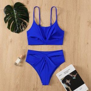 С драпировкой Одноцветный Повседневный Танкини SHEIN. Цвет: ярко-синий