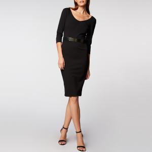 Платье-миди облегающее с рукавами 3/4 MORGAN. Цвет: черный