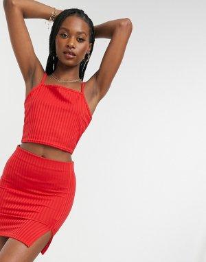 Трикотажная пляжная мини-юбка красного цвета с разрезом от комплекта -Красный Public Desire