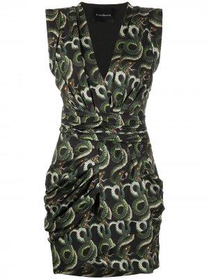 Короткое платье со змеиным принтом John Richmond. Цвет: золотистый